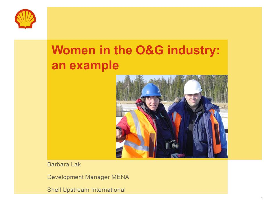 1 Women in the O&G industry: an example Barbara Lak Development Manager MENA Shell Upstream International