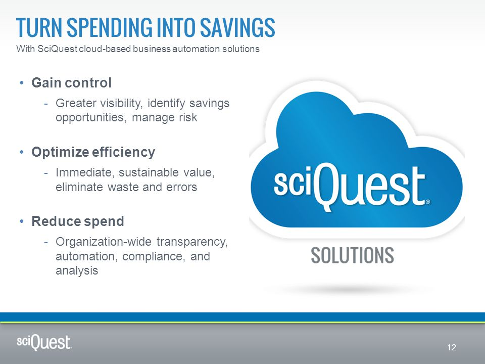 TURN SPENDING INTO SAVINGS With SciQuest cloud-based business automation solutions Gain control -Greater visibility, identify savings opportunities, m