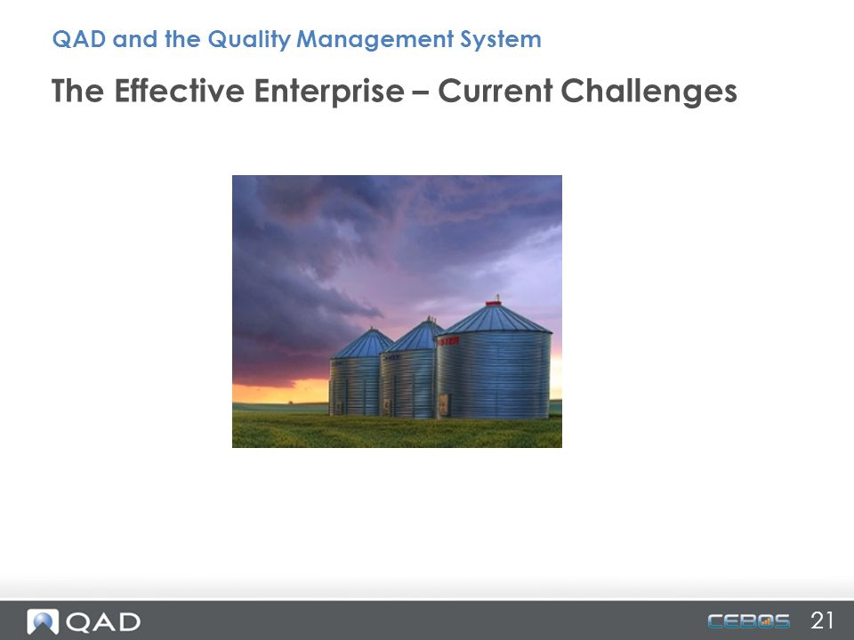 21 The Effective Enterprise – Current Challenges QAD and the Quality Management System