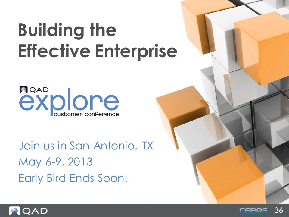36 Join us in San Antonio, TX May 6-9, 2013 Early Bird Ends Soon! Building the Effective Enterprise