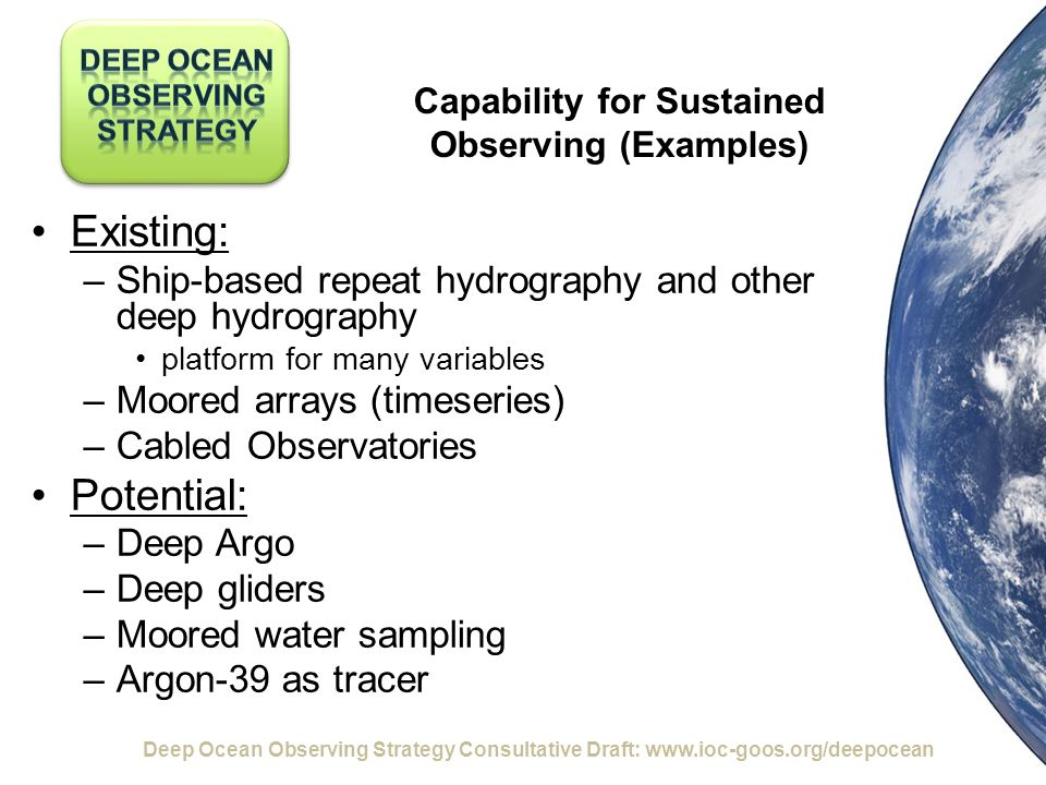 Capability for Sustained Observing (Examples) Existing: –Ship-based repeat hydrography and other deep hydrography platform for many variables –Moored arrays (timeseries) –Cabled Observatories Potential: –Deep Argo –Deep gliders –Moored water sampling –Argon-39 as tracer Deep Ocean Observing Strategy Consultative Draft: www.ioc-goos.org/deepocean