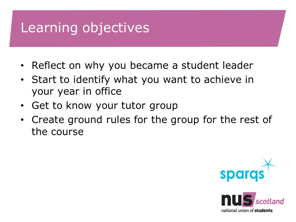 Learning objectives Reflect on why you became a student leader Start to identify what you want to achieve in your year in office Get to know your tutor group Create ground rules for the group for the rest of the course