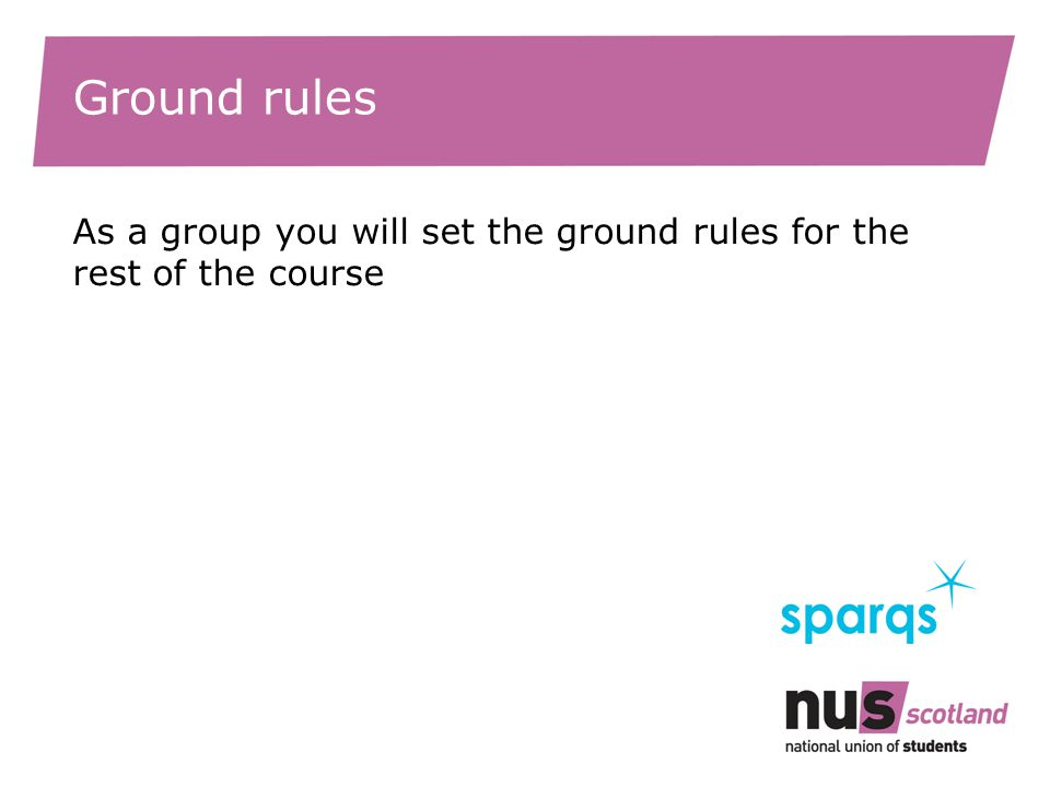 Ground rules As a group you will set the ground rules for the rest of the course