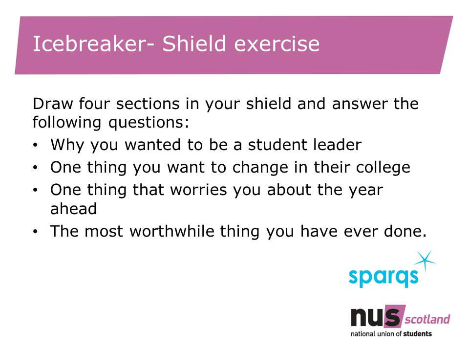 Icebreaker- Shield exercise Draw four sections in your shield and answer the following questions: Why you wanted to be a student leader One thing you want to change in their college One thing that worries you about the year ahead The most worthwhile thing you have ever done.