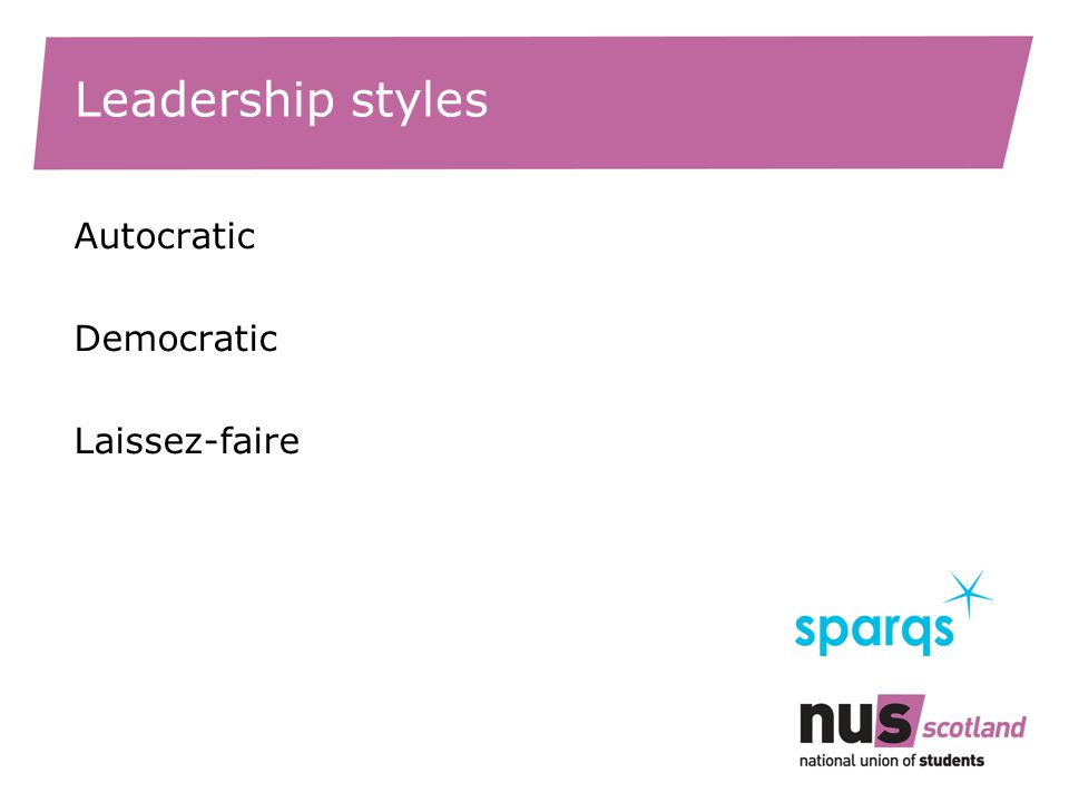 Leadership styles Autocratic Democratic Laissez-faire