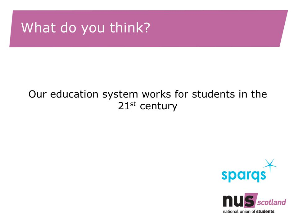 What do you think? Our education system works for students in the 21 st century