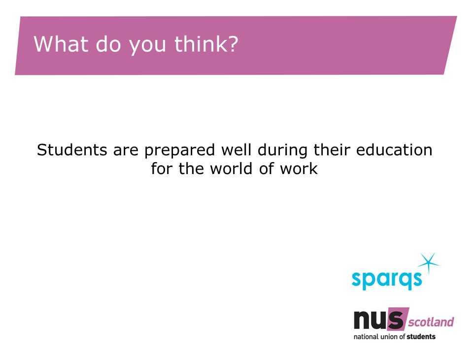 What do you think? Students are prepared well during their education for the world of work