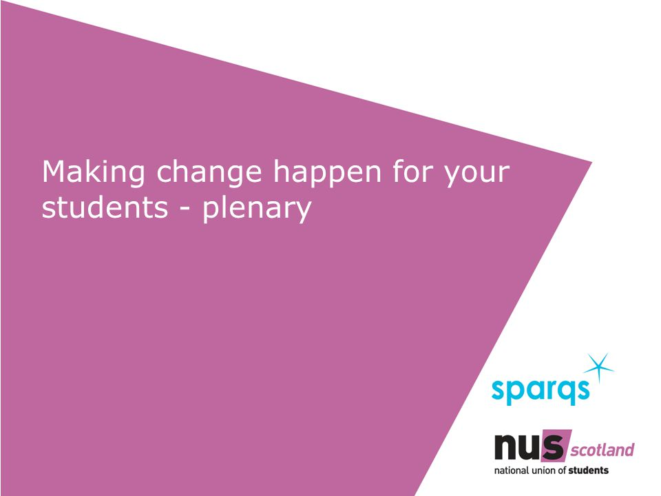 Making change happen for your students - plenary