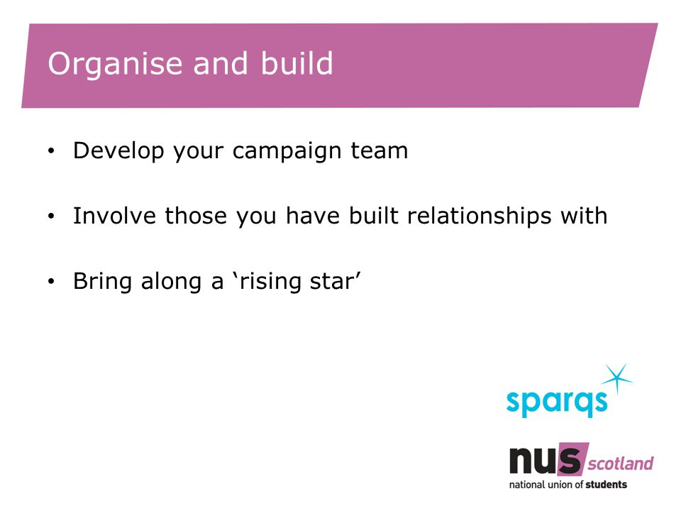 Organise and build Develop your campaign team Involve those you have built relationships with Bring along a 'rising star'