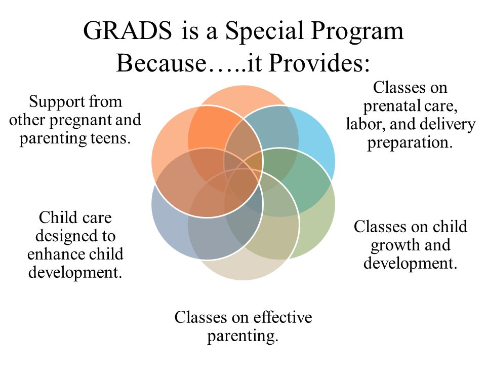 Classes on prenatal care, labor, and delivery preparation. Classes on child growth and development. Classes on effective parenting. Child care designe