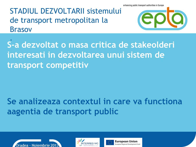 STADIUL DEZVOLTARII sistemului de transport metropolitan la Brasov.