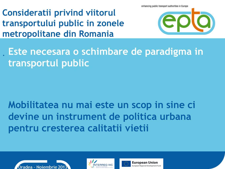 Consideratii privind viitorul transportului public in zonele metropolitane din Romania.