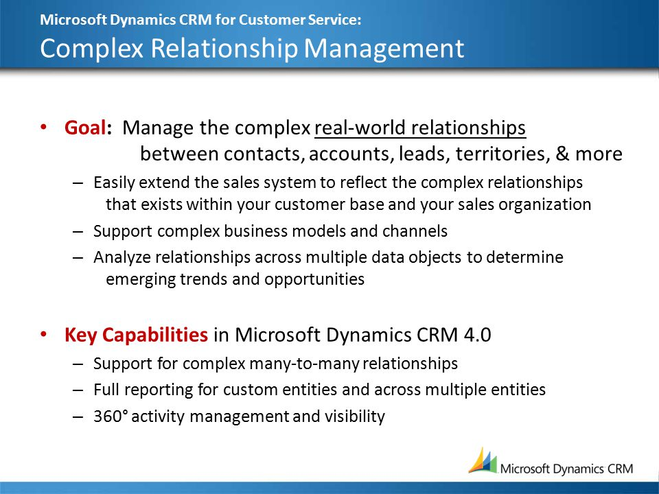 Microsoft Dynamics CRM for Customer Service: Complex Relationship Management Goal: Manage the complex real-world relationships between contacts, accounts, leads, territories, & more – Easily extend the sales system to reflect the complex relationships that exists within your customer base and your sales organization – Support complex business models and channels – Analyze relationships across multiple data objects to determine emerging trends and opportunities Key Capabilities in Microsoft Dynamics CRM 4.0 – Support for complex many-to-many relationships – Full reporting for custom entities and across multiple entities – 360° activity management and visibility