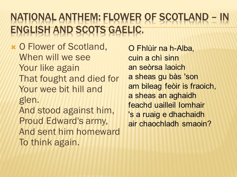  O Flower of Scotland, When will we see Your like again That fought and died for Your wee bit hill and glen. And stood against him, Proud Edward's ar