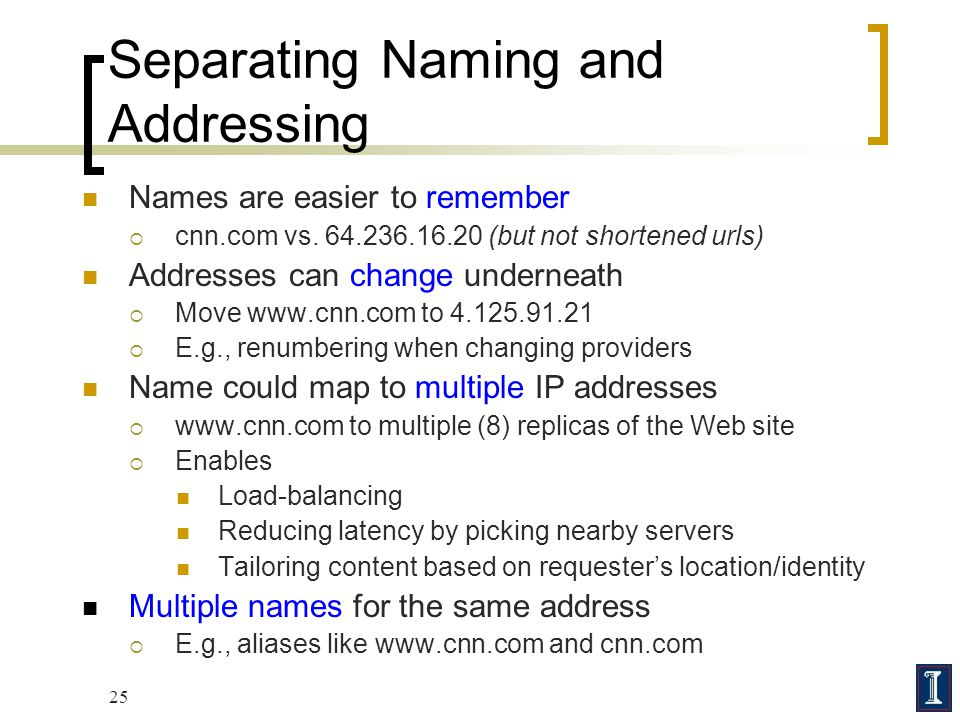 25 Separating Naming and Addressing Names are easier to remember  cnn.com vs. 64.236.16.20 (but not shortened urls) Addresses can change underneath 