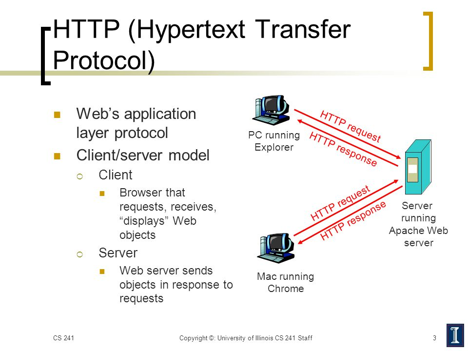 """HTTP (Hypertext Transfer Protocol) Web's application layer protocol Client/server model  Client Browser that requests, receives, """"displays"""" Web objec"""