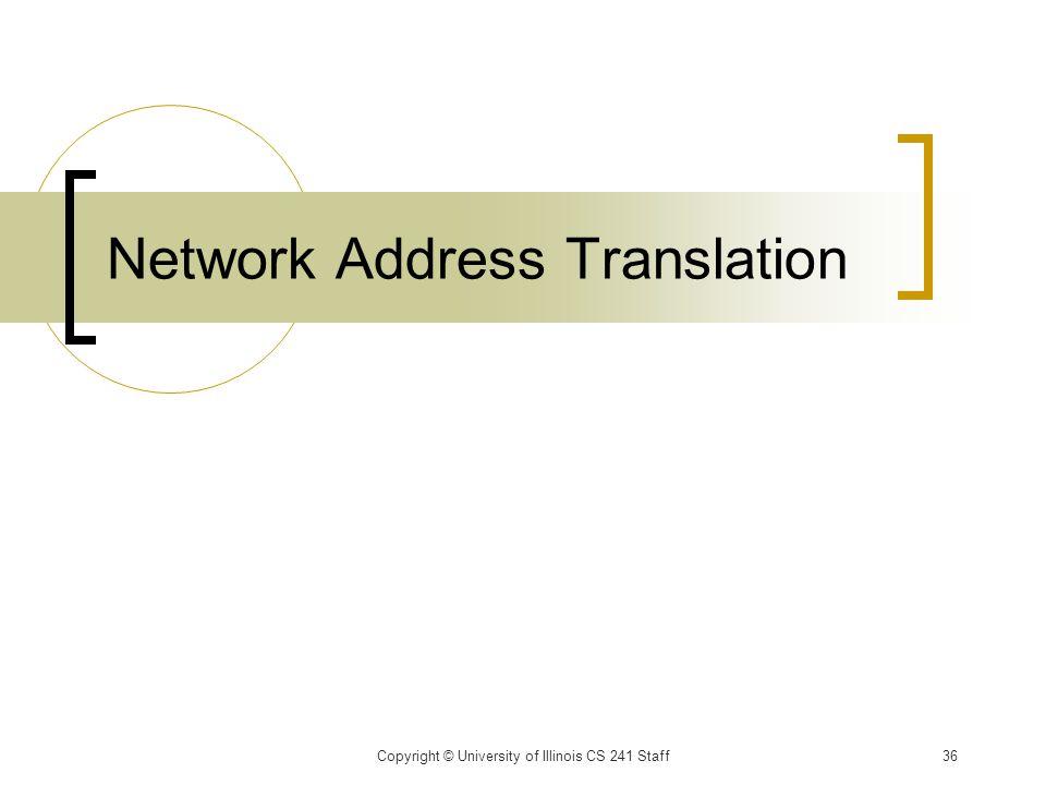 Network Address Translation Copyright © University of Illinois CS 241 Staff36