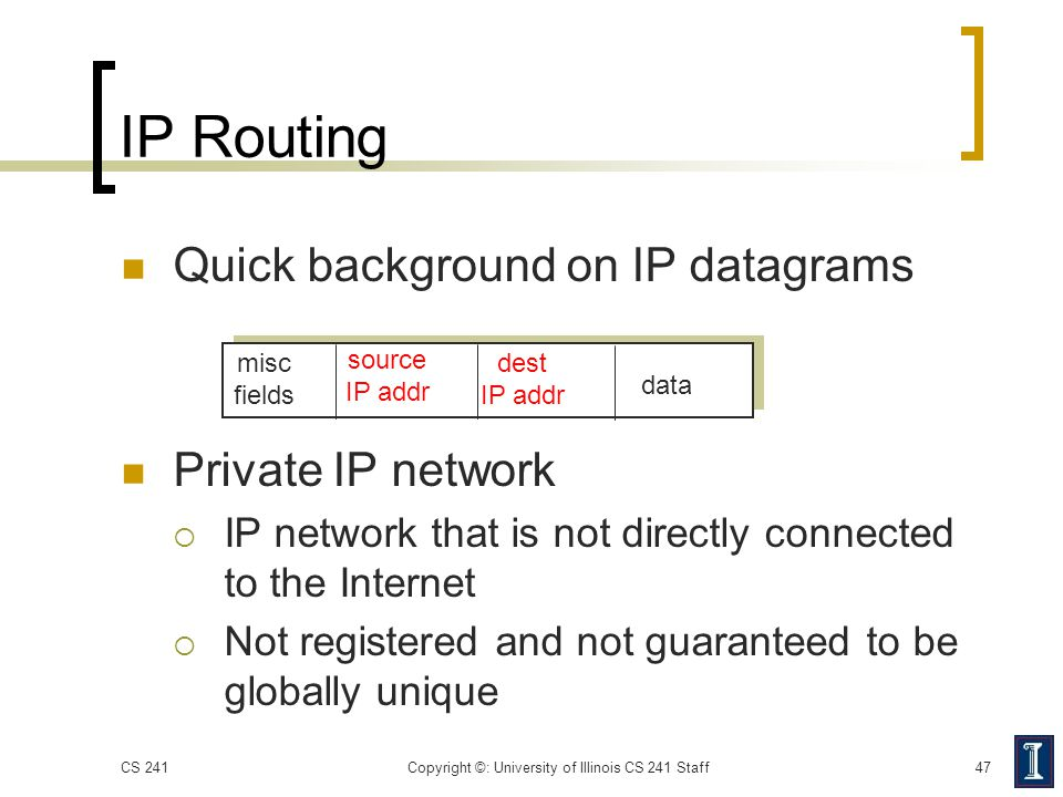 IP Routing Quick background on IP datagrams Private IP network  IP network that is not directly connected to the Internet  Not registered and not gu