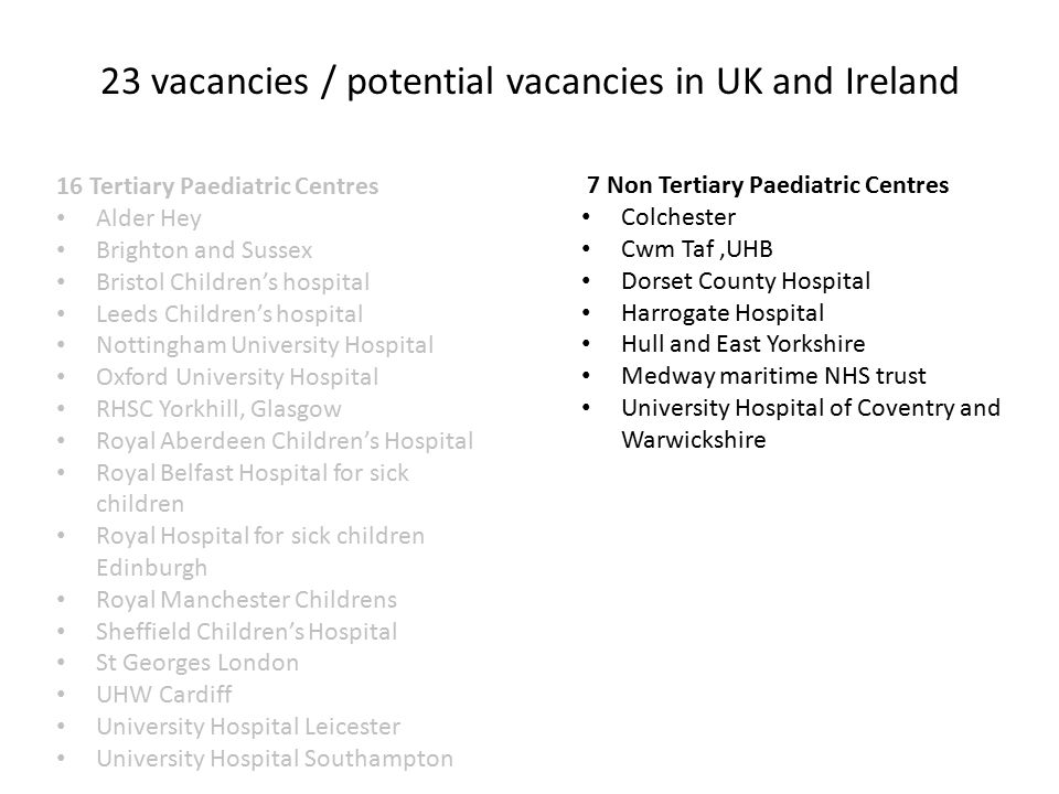 16 Tertiary Paediatric Centres Alder Hey Brighton and Sussex Bristol Children's hospital Leeds Children's hospital Nottingham University Hospital Oxford University Hospital RHSC Yorkhill, Glasgow Royal Aberdeen Children's Hospital Royal Belfast Hospital for sick children Royal Hospital for sick children Edinburgh Royal Manchester Childrens Sheffield Children's Hospital St Georges London UHW Cardiff University Hospital Leicester University Hospital Southampton 7 Non Tertiary Paediatric Centres Colchester Cwm Taf,UHB Dorset County Hospital Harrogate Hospital Hull and East Yorkshire Medway maritime NHS trust University Hospital of Coventry and Warwickshire 23 vacancies / potential vacancies in UK and Ireland