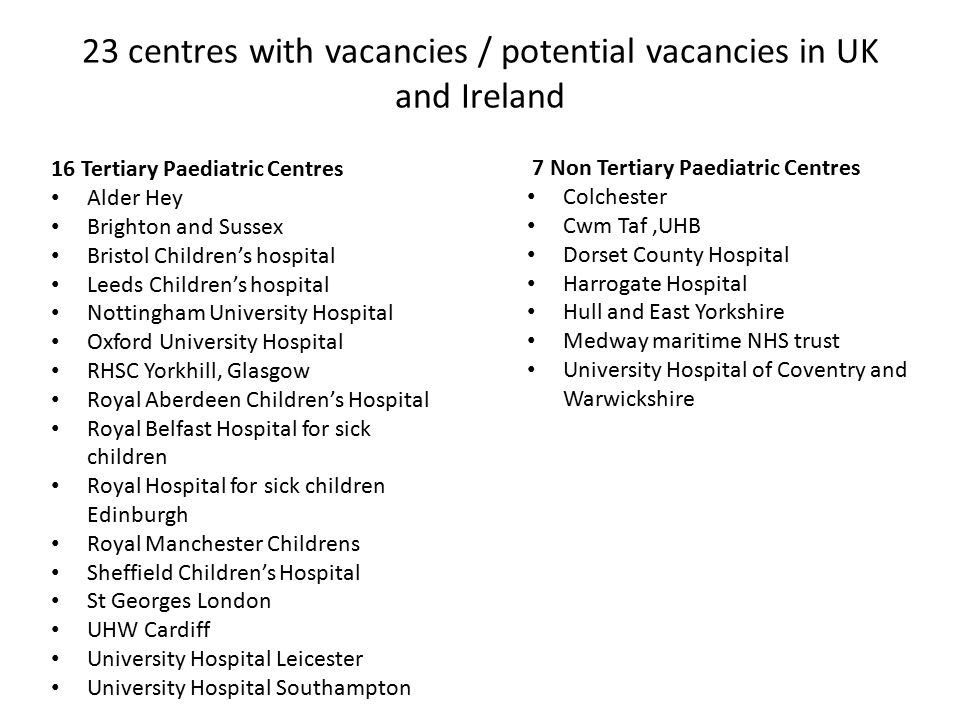 16 Tertiary Paediatric Centres Alder Hey Brighton and Sussex Bristol Children's hospital Leeds Children's hospital Nottingham University Hospital Oxfo