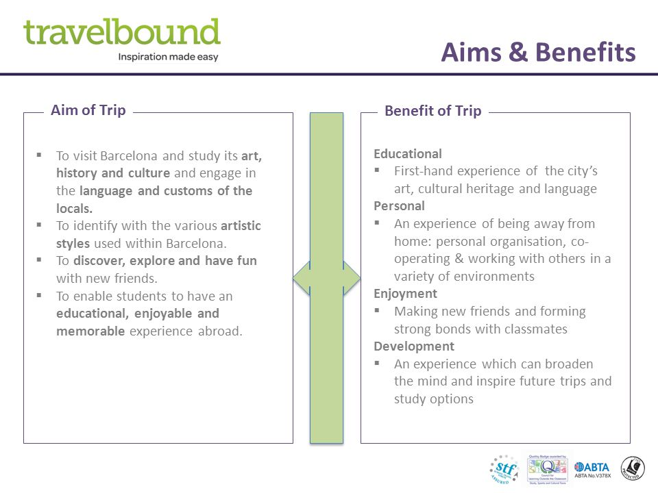 Aims & Benefits Aim of Trip Benefit of Trip  To visit Barcelona and study its art, history and culture and engage in the language and customs of the