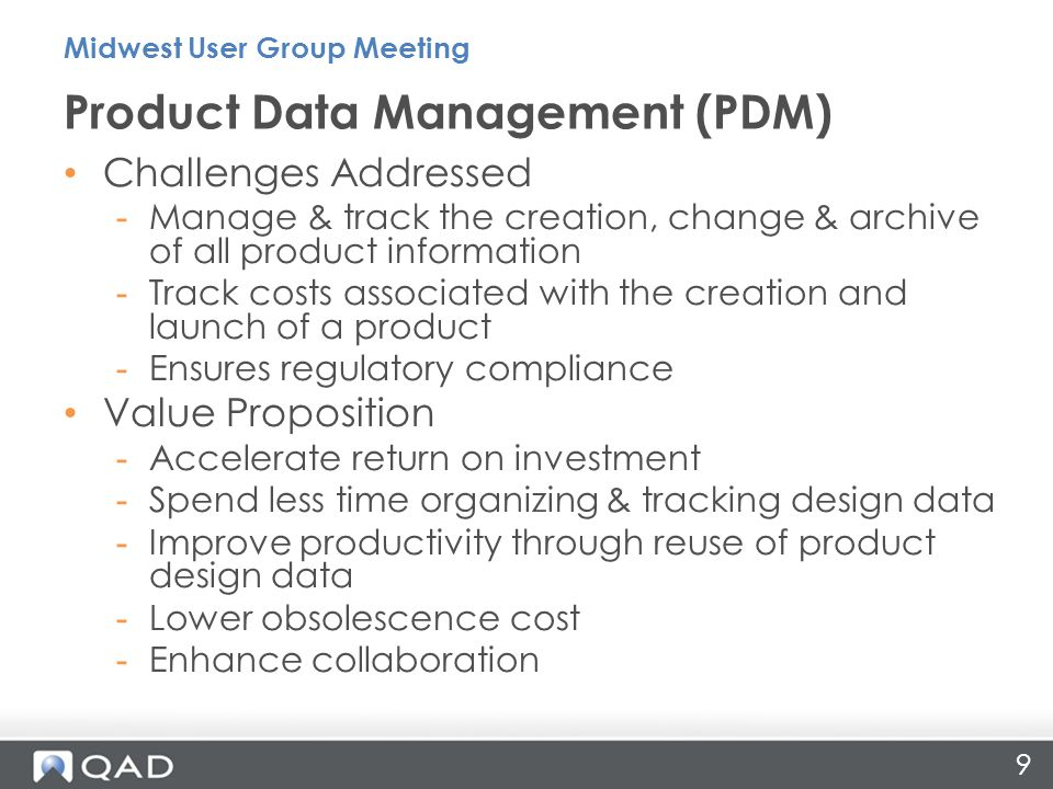 270 manufacturers surveyed about PLM Integration plans 6 Key performance criteria evaluated Shows gap in ability to profit from product innovation Best Practices Midwest User Group Meeting 20 Aberdeen Group, Integrating the PLM Ecosystem