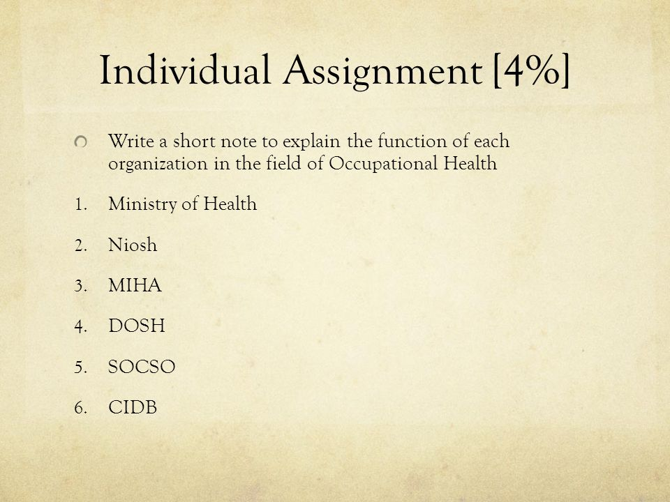 Individual Assignment [4%] Write a short note to explain the function of each organization in the field of Occupational Health 1.
