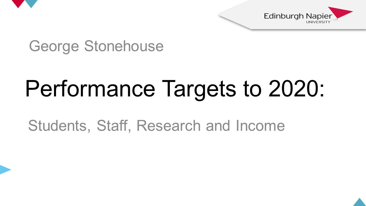 Performance Targets to 2020: Students, Staff, Research and Income z z George Stonehouse