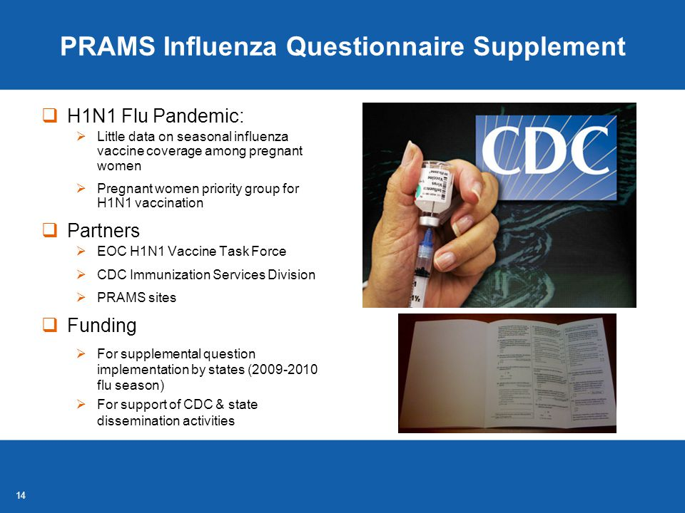 14 PRAMS Influenza Questionnaire Supplement  H1N1 Flu Pandemic:  Little data on seasonal influenza vaccine coverage among pregnant women  Pregnant women priority group for H1N1 vaccination  Partners  EOC H1N1 Vaccine Task Force  CDC Immunization Services Division  PRAMS sites  Funding  For supplemental question implementation by states (2009-2010 flu season)  For support of CDC & state dissemination activities