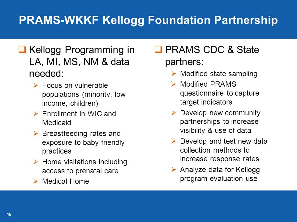 16 PRAMS-WKKF Kellogg Foundation Partnership  Kellogg Programming in LA, MI, MS, NM & data needed:  Focus on vulnerable populations (minority, low income, children)  Enrollment in WIC and Medicaid  Breastfeeding rates and exposure to baby friendly practices  Home visitations including access to prenatal care  Medical Home  PRAMS CDC & State partners:  Modified state sampling  Modified PRAMS questionnaire to capture target indicators  Develop new community partnerships to increase visibility & use of data  Develop and test new data collection methods to increase response rates  Analyze data for Kellogg program evaluation use