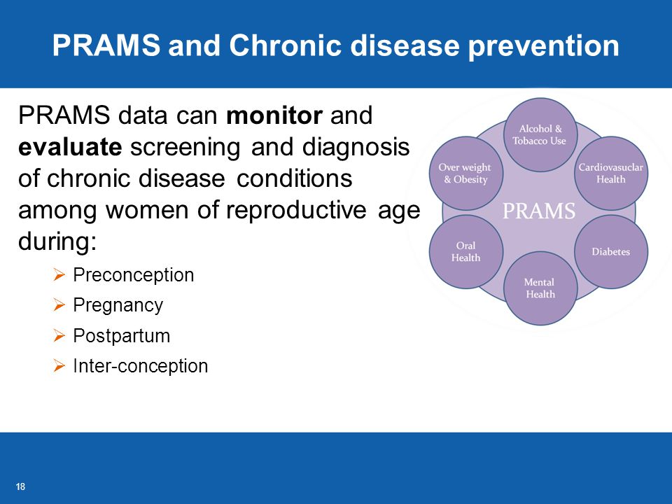 18 PRAMS and Chronic disease prevention PRAMS data can monitor and evaluate screening and diagnosis of chronic disease conditions among women of reproductive age during:  Preconception  Pregnancy  Postpartum  Inter-conception