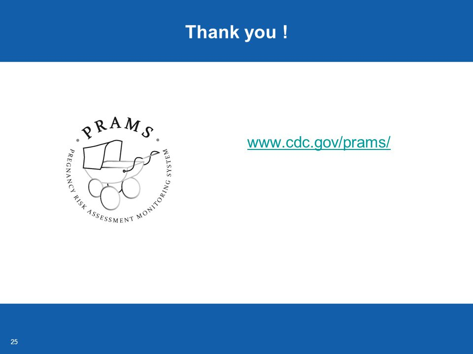25 Thank you ! www.cdc.gov/prams/