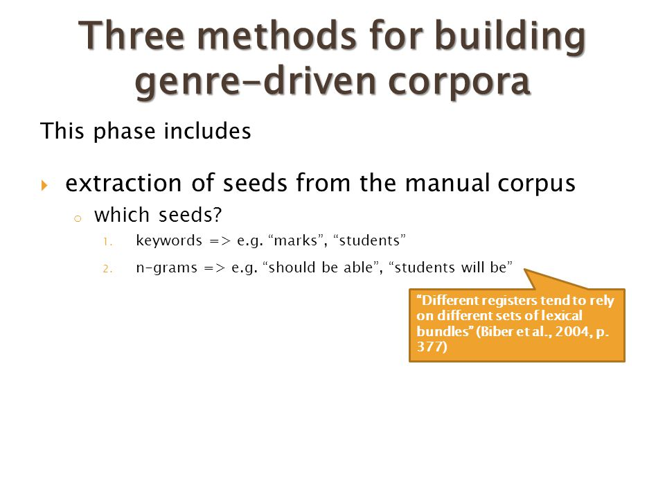 Three methods for building genre-driven corpora This phase includes  extraction of seeds from the manual corpus o which seeds.