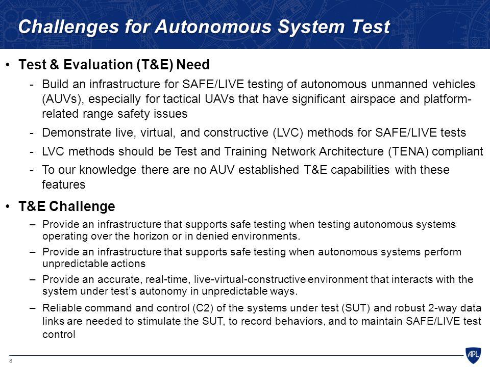 8 Challenges for Autonomous System Test Test & Evaluation (T&E) Need -Build an infrastructure for SAFE/LIVE testing of autonomous unmanned vehicles (A