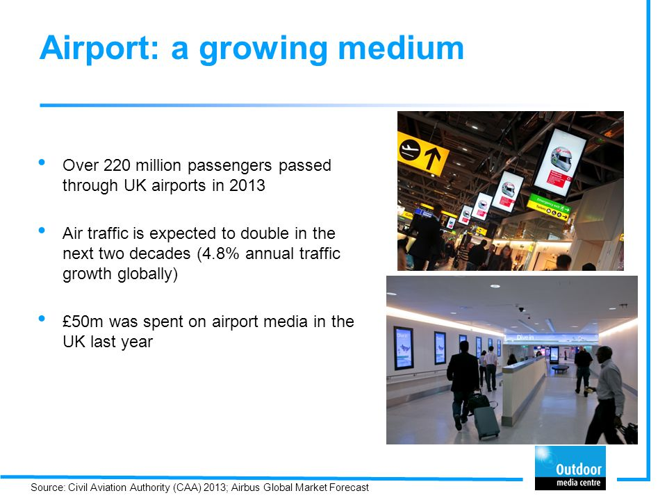 Over 220 million passengers passed through UK airports in 2013 Air traffic is expected to double in the next two decades (4.8% annual traffic growth globally) £50m was spent on airport media in the UK last year Airport: a growing medium Source: Civil Aviation Authority (CAA) 2013; Airbus Global Market Forecast