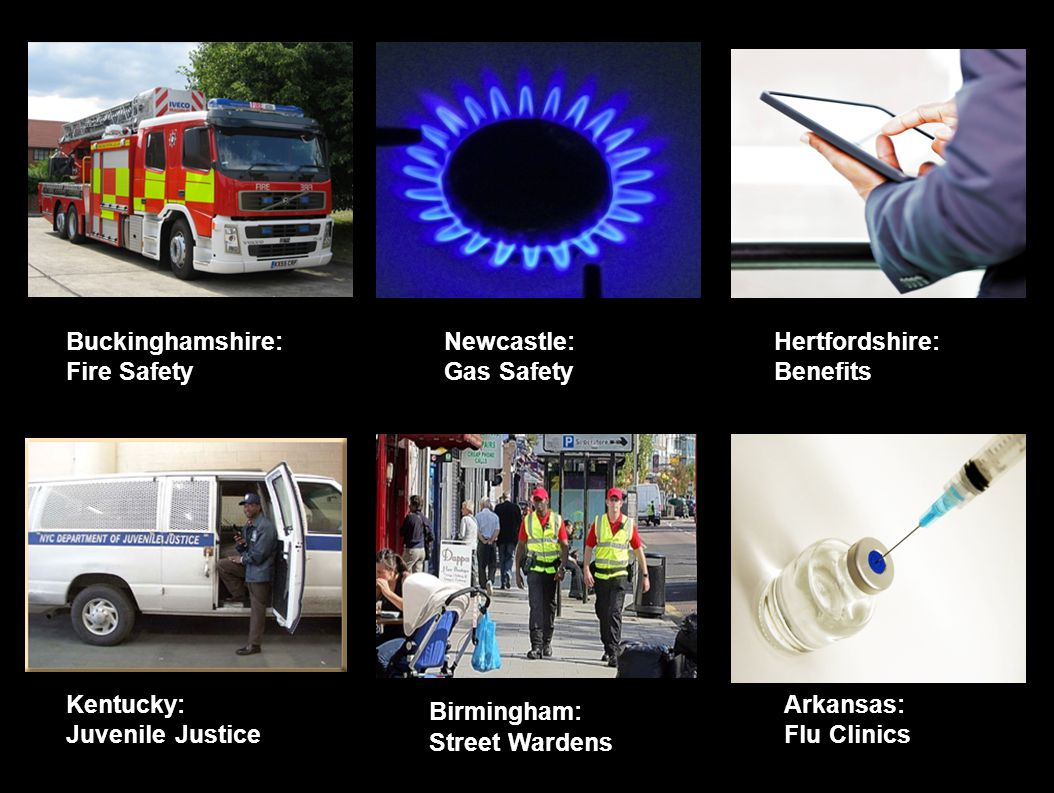 Newcastle: Gas Safety Birmingham: Street Wardens Hertfordshire: Benefits Kentucky: Juvenile Justice Buckinghamshire: Fire Safety Arkansas: Flu Clinics