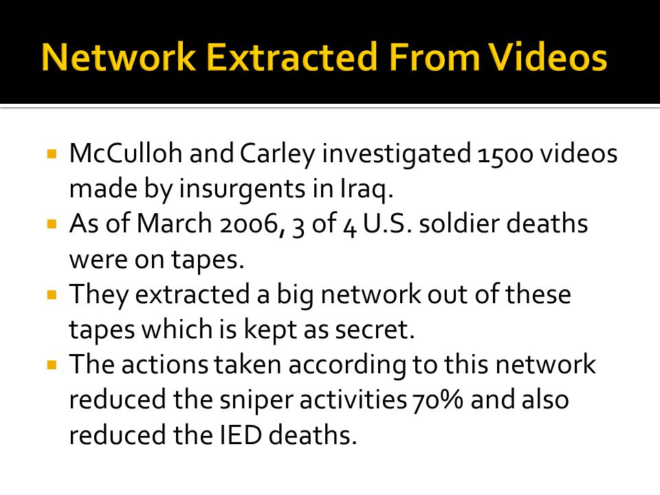  McCulloh and Carley investigated 1500 videos made by insurgents in Iraq.