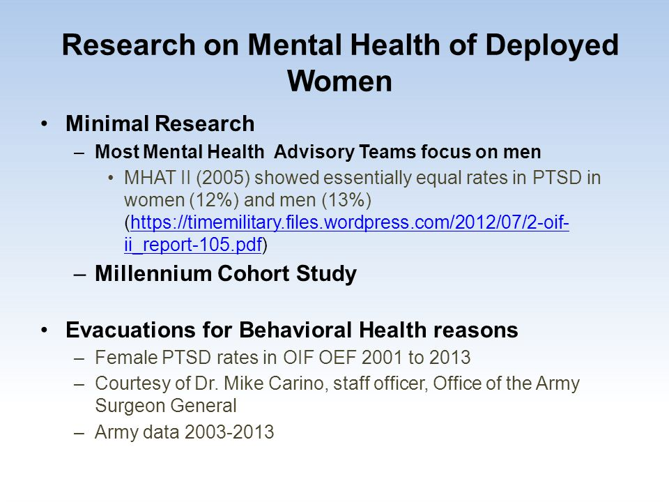 Research on Mental Health of Deployed Women Minimal Research –Most Mental Health Advisory Teams focus on men MHAT II (2005) showed essentially equal r