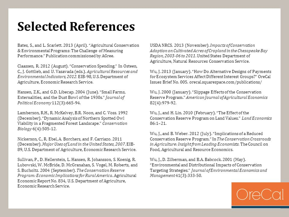 Selected References Bates, S., and L. Scarlett. 2013 (April).