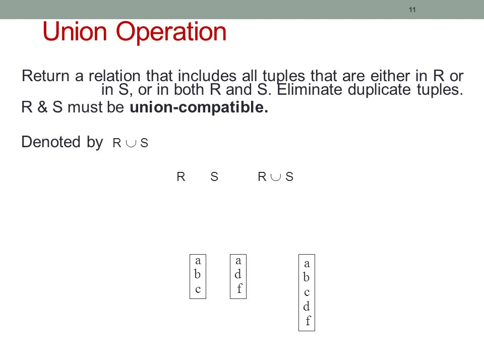 11 Union Operation Return a relation that includes all tuples that are either in R or in S, or in both R and S.