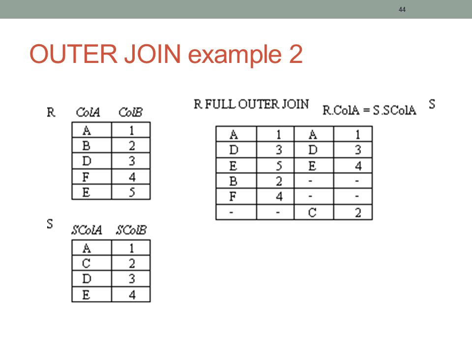 44 OUTER JOIN example 2