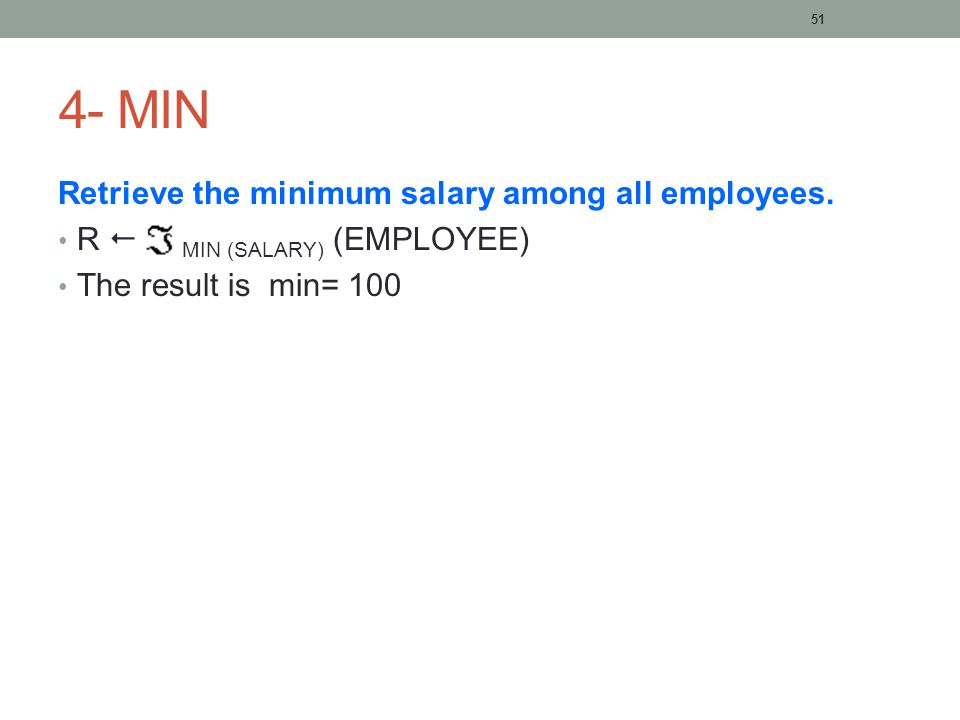 51 4- MIN Retrieve the minimum salary among all employees.