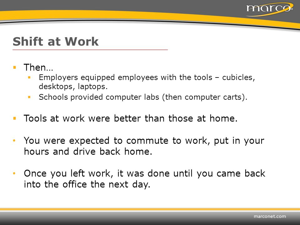  Then…  Employers equipped employees with the tools – cubicles, desktops, laptops.