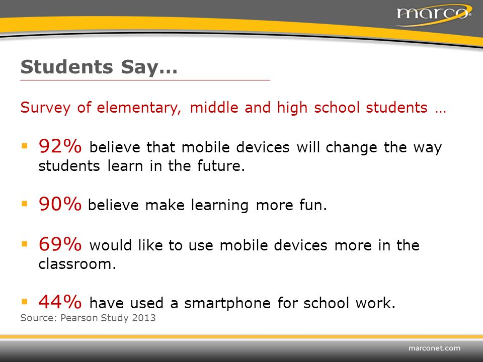 Survey of elementary, middle and high school students …  92% believe that mobile devices will change the way students learn in the future.