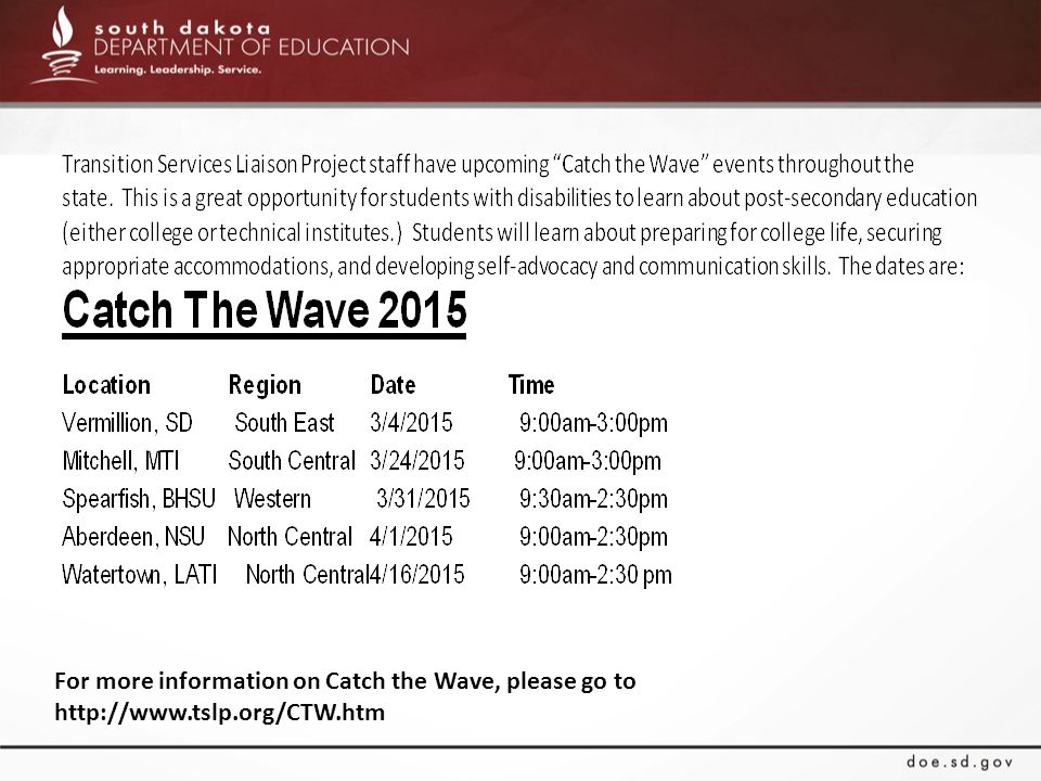 For more information on Catch the Wave, please go to http://www.tslp.org/CTW.htm