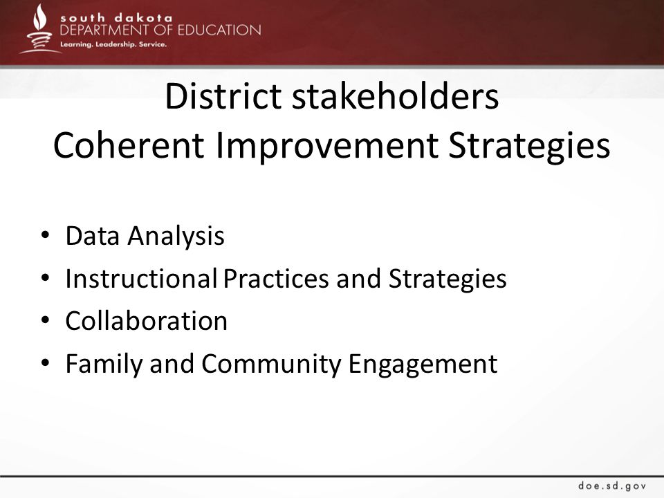 District stakeholders Coherent Improvement Strategies Data Analysis Instructional Practices and Strategies Collaboration Family and Community Engagement