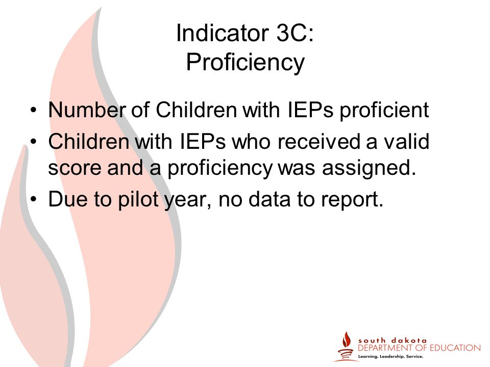 Indicator 3C: Proficiency Number of Children with IEPs proficient Children with IEPs who received a valid score and a proficiency was assigned.
