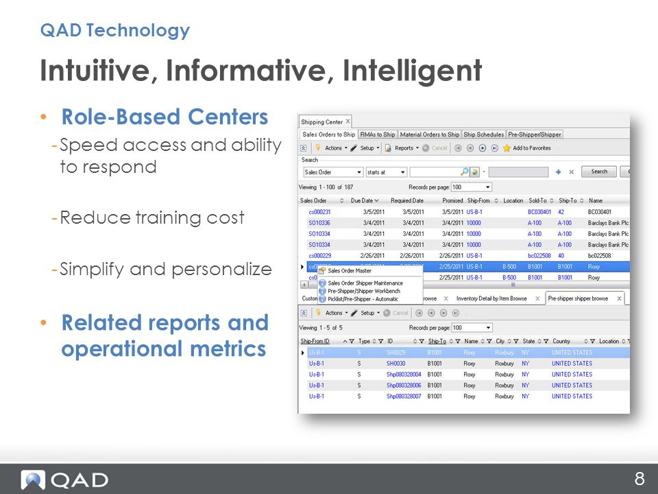 Role-Based Centers -Speed access and ability to respond -Reduce training cost -Simplify and personalize Related reports and operational metrics Intuitive, Informative, Intelligent QAD Technology 8