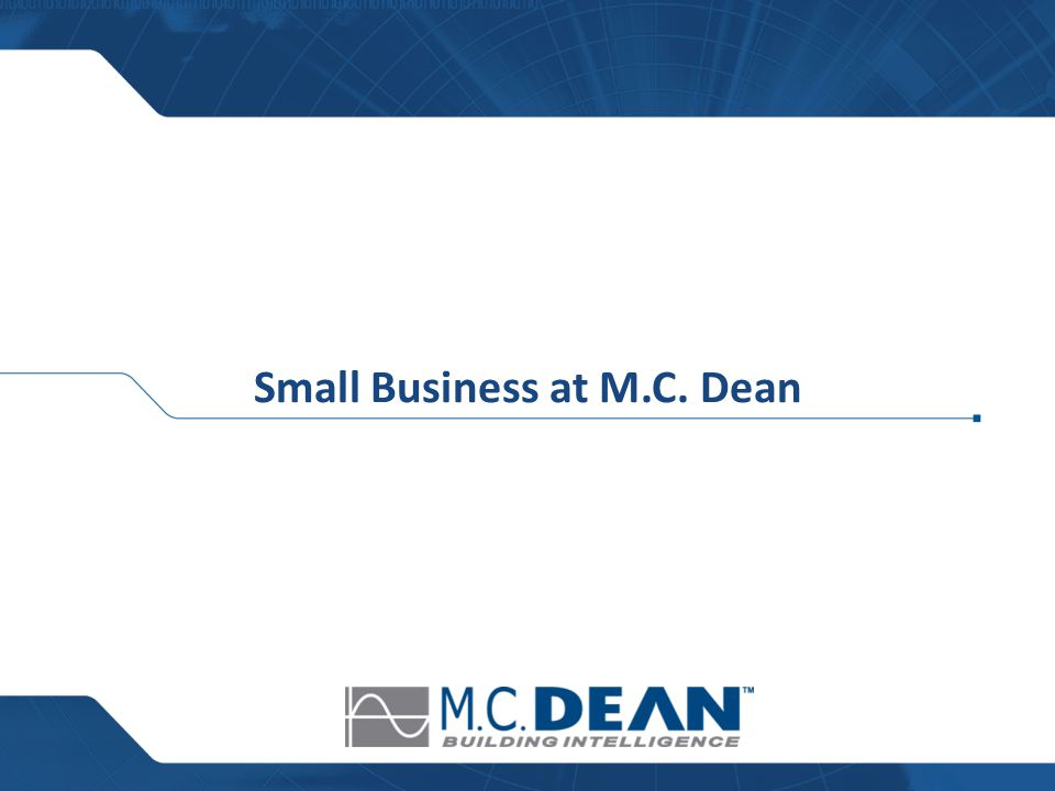 Small Business at M.C. Dean