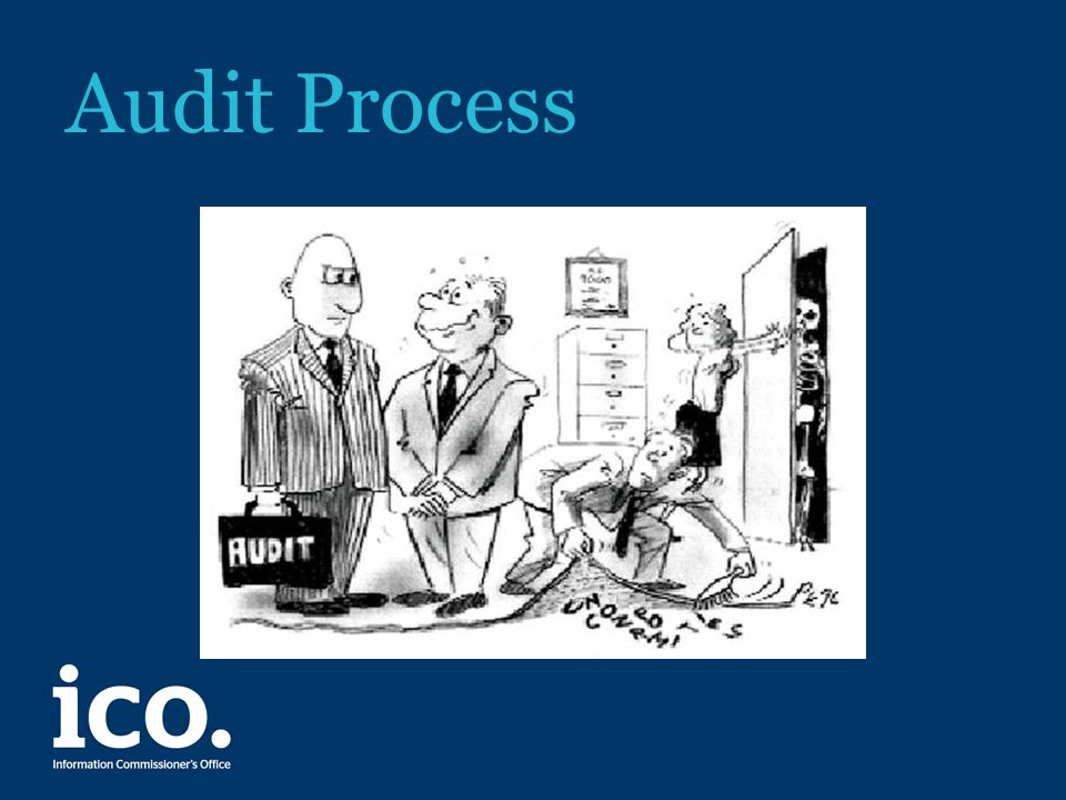Audit approach – process overview Consensual engagement, then agree a scope of work with the organisation plus LoE and interview schedule – one to two months before the audit Carry out an off-site adequacy review of an organisation's documented policies and procedures Carry out an on-site review of the procedures in practice for processing personal data – 3 days, 2/3 auditors Provide a report with recommendations and assurance opinion – 8 weeks from first draft to final report Draft an executive summary for publication on our website, with the consent of the organisation Carry out a follow-up review – depends on assurance level